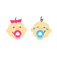 infant baby faces sucking pacifier flat vector image