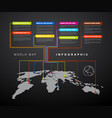 infographic dark world map with pointer marks vector image vector image