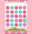 match three game interface with flowers vector image vector image