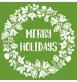 Merry Holiday card with christmas wreath on green vector image vector image