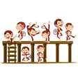 monkeys playing on the wooden level vector image vector image