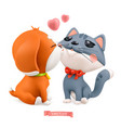 puppy and kitten valentines day 3d icon vector image