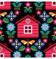 scandinavian folk seamless floral pattern vector image vector image