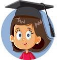 school girl with graduation cap vector image