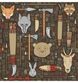 Seamless pattern indian hunting