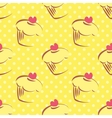 Seamless yellow cake pattern with polka dots vector image