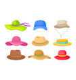 set different summer hats vector image vector image