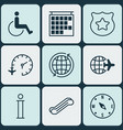 set of 9 transportation icons includes world vector image