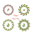 set of christmas and new year holly wreath vector image vector image