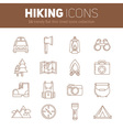 Set of hiking thin lined flat icons