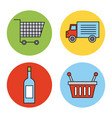 set or design elements relating to supermarket vector image