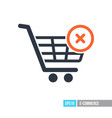 shopping cart with cross sign icon vector image