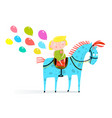 small girl riding a horse with holiday balloons vector image