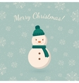 Snowman on winter backdrop vector image