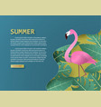 summer background with flamingo bird and tropical vector image vector image