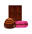 sweet candies macaron bar chocolate vector image