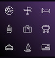 traveling icons line style set with signpost vector image