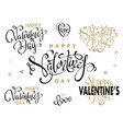valentine day and love gold lettering collection vector image