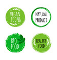 vegan round logos badges set of hand drawn bio vector image vector image