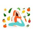 vegan woman doing yoga vector image vector image