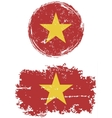 Vietnamese round and square grunge flags vector image vector image