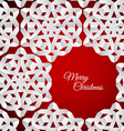 white paper christmas snowflakes on a red vector image vector image