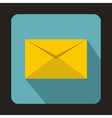 Yellow closed envelope icon flat style vector image