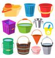 bucket water full wood and metal plastic vector image