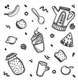 hand drawn set of breakfast food sketch concept vector image