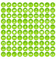 100 audience icons set green circle vector image vector image