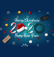 2020 new year card with christmas background vector image vector image