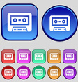audiocassette icon sign A set of twelve vintage vector image vector image
