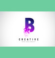 b purple letter logo design with liquid effect vector image vector image