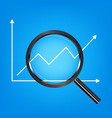 black magnify glass analysis stock graph vector image