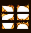 burning paper banners white cards with fire vector image vector image