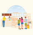 cafeteria with juce bar counter barista serves vector image vector image