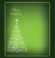 christmas card with christmas tree made from snow vector image vector image