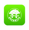 cloud data security icon green vector image