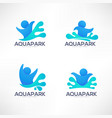 collection aqua park and swimming actions logo vector image vector image