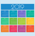 colorful year 2019 calendar vector image vector image