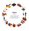 court session concept banner card circle 3d vector image vector image