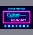 cyber monday limited time only neon sign vector image vector image
