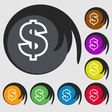 Dollar icon sign Symbol on eight colored buttons vector image vector image