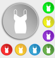 dress icon sign Symbol on eight flat buttons vector image