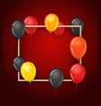 empty frame with color balloons party vector image vector image
