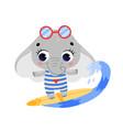flat doodle cute cartoon summer surfing elephant vector image