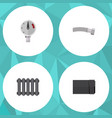 flat icon sanitary set of tube corrugated pipe vector image vector image