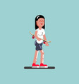 girl skater walking with board in hand vector image