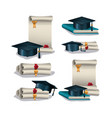 graduation card with set icons vector image vector image