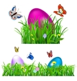Green grass with Easter eggs vector image vector image